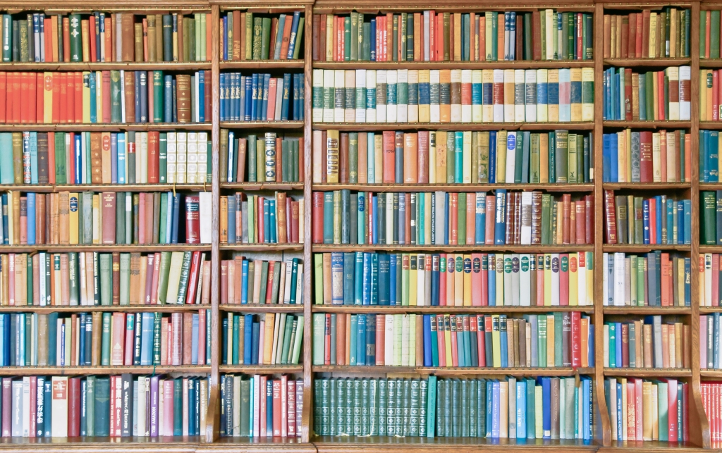 Bookshelf filled with colorful books